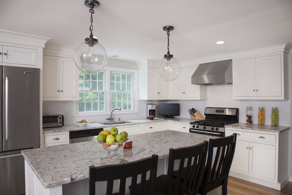 Modern Kitchen Design with White Finish  Norwell, Massachusetts